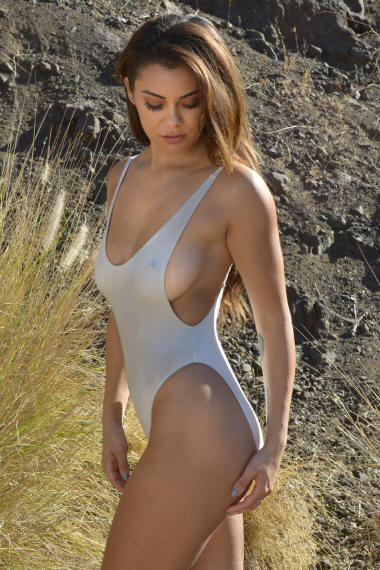 Sexy Sheer When Wet Side Boob One Piece Swimsuit in Thong bottom or Rio