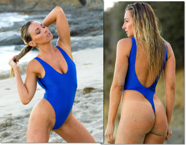 Stunning Royal Blue thong swimsuit one piece