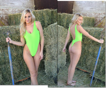st raphael thong one piece swimwear neon lime