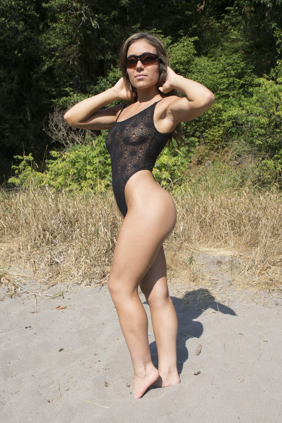 See thru one piece bikini