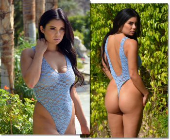 Sheer Lace Tahoe thong one piece swimsuit