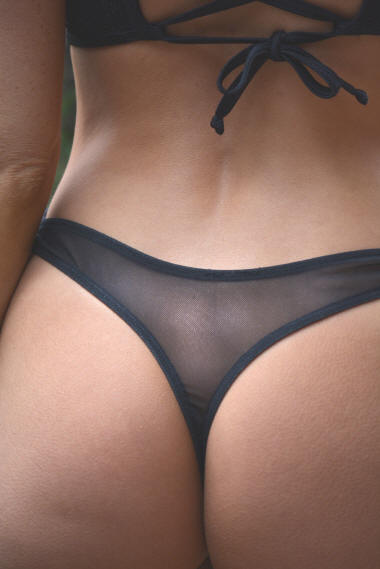 Sheer Mesh thong bikini tie side bottom
