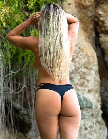 Topless thong bikini bottom side cross