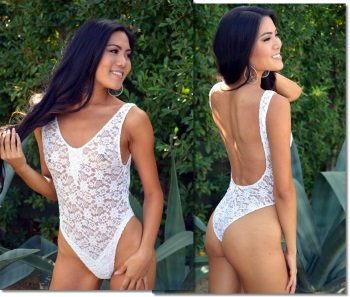 Sheer white lace one piece bathing suit
